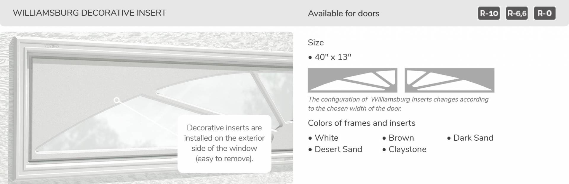 Eastman E-11, 10' x 7', Desert Sand door and overlays, 8 lite Panoramic windows